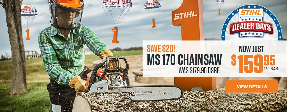 Save $20 on the MS 170 chainsaw!